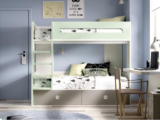 Litera juvenil multicolor 2 camas y 2 cajones