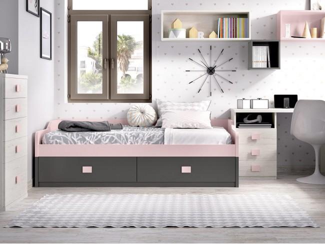 Cama nido con cama y 2 cajones colores Rosa-Grafito