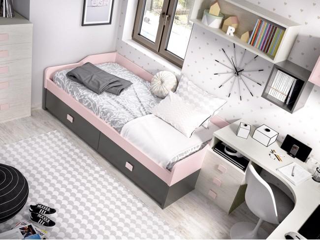 Cama nido con cama y 2 cajones colores Rosa-Grafito detalle