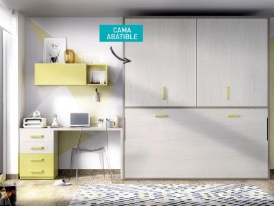 Cama abatible horizontal colores artic, tortora y miel