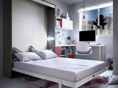Cama abatible vertical 135 cm colores artic y aluminio abierta