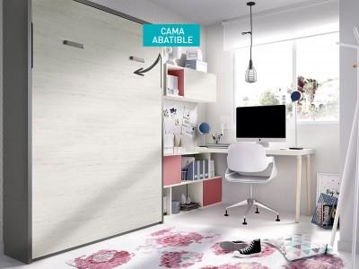 Cama abatible vertical 135 cm colores artic y aluminio
