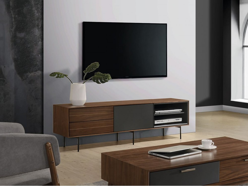 Mueble TV de 170x40 cm nogal-gris antracita