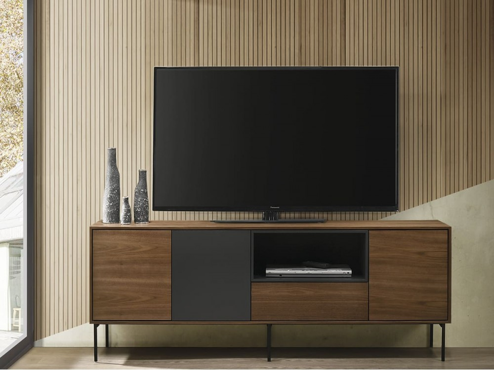 Mueble TV de 180x40 cm nogal-gris antracita