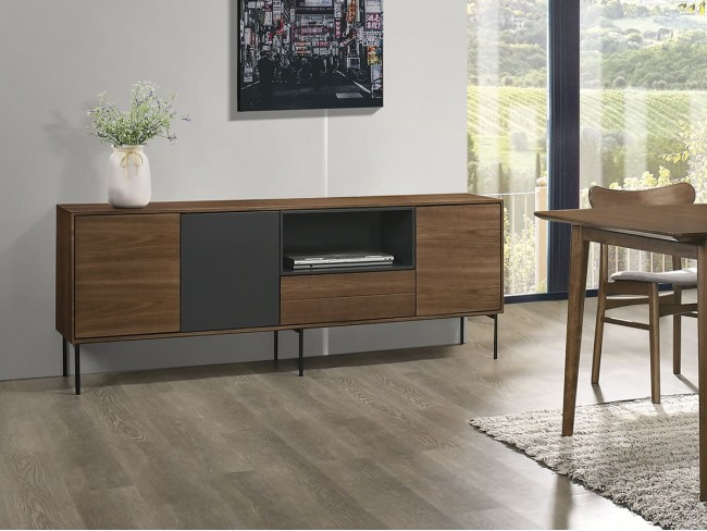 Mueble TV de 180x40 cm nogal-gris antracita II