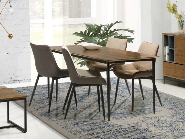 Mesa de comedor fija de 160x85 cm nogal ambiente