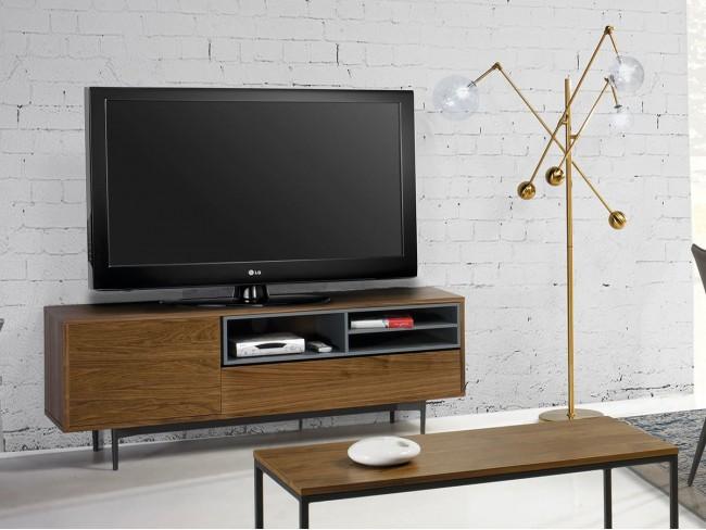 Mueble TV de 152x40 cm nogal-gris AM