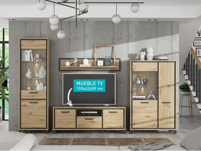 Mueble TV 159 cm modelo Trondheim colores roble-negro
