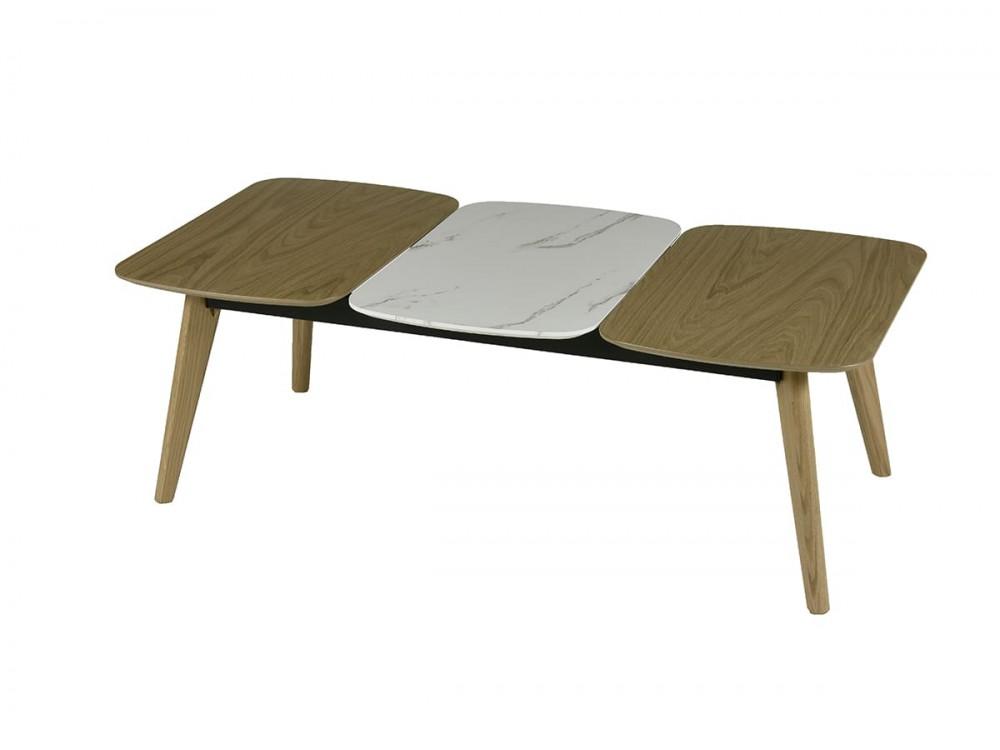 Mesa de centro 120x60 cm roble-marmol