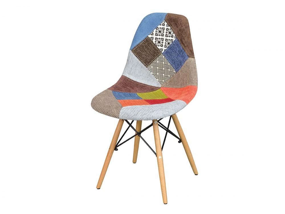 Silla tapizada tejido patchwork