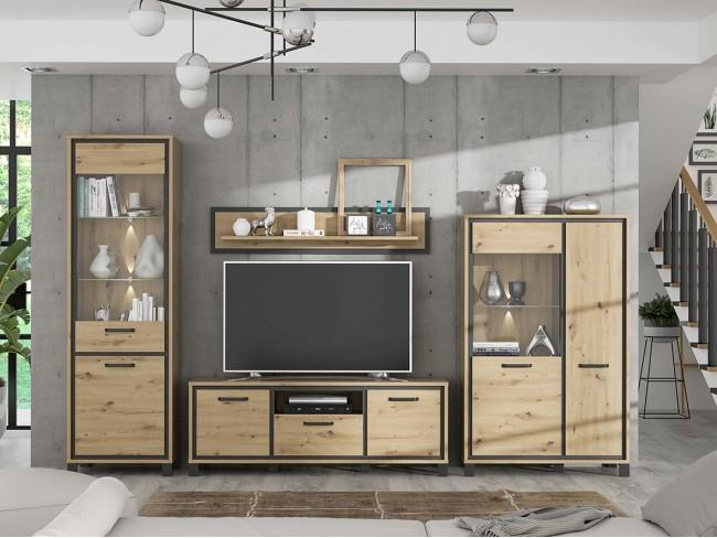 Composición de salón 325 cm modelo Trondheim colores roble-negro