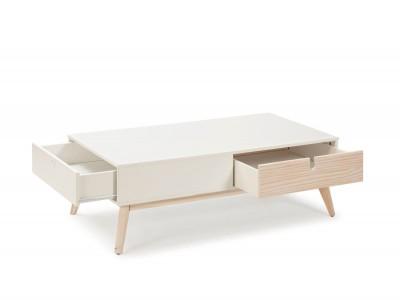 Mesa de centro de 110x60 cm blanco-natural cajones