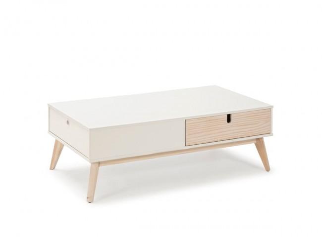 Mesa de centro de 110x60 cm blanco-natural