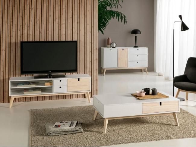 Mesa de centro de 110x60 cm blanco-natural ambiente