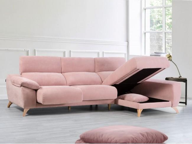 Sofá chaise longue con arcón de 273 cm detalle