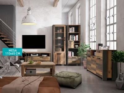 Mesa centro elevable de 110x65 cm madera vintage