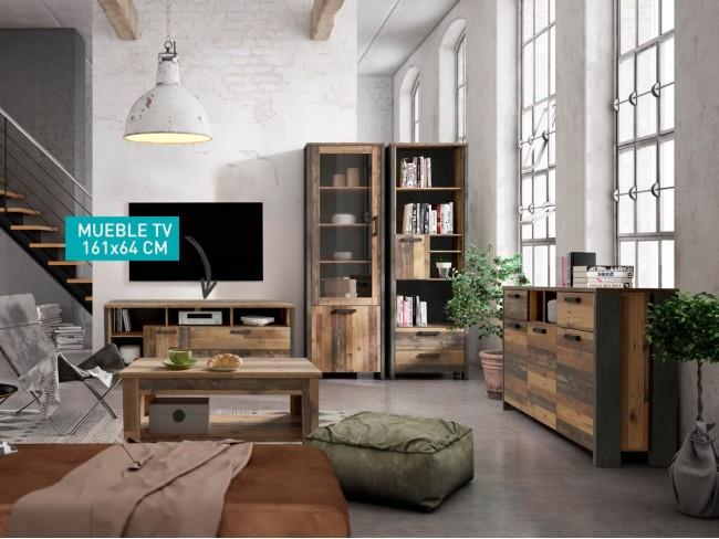 Mueble TV de 161x64 cm madera vintage