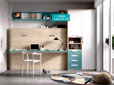 Cama juvenil abatible de 135x190 con escritorio