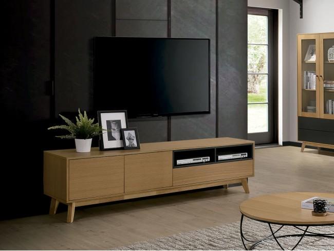 Mueble TV de 170x40 cm roble-gris antracita