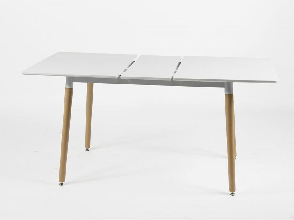 Mesa comedor rectangular extensible de 120x80 blanco