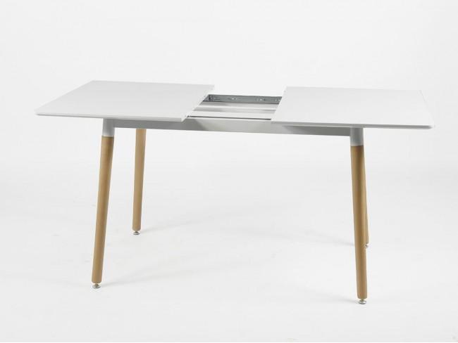 Mesa comedor rectangular extensible de 120x80 blanco detalle