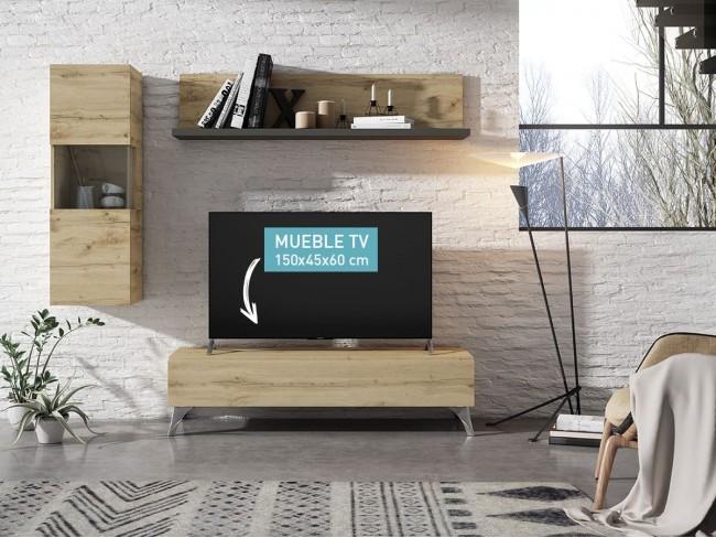 Mueble TV Exo 1C con patas y estantería colgada modelo Expo